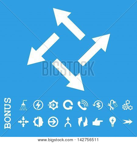Centrifugal Arrows vector icon. Image style is a flat pictogram symbol, white color, blue background.