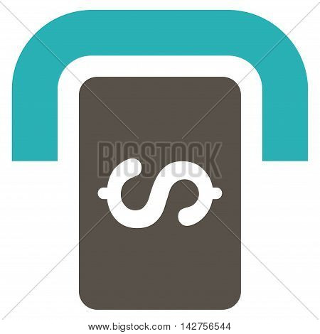 Cashpoint Terminal icon. Vector style is bicolor flat iconic symbol with rounded angles, grey and cyan colors, white background.