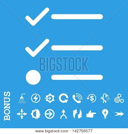 Checklist vector icon. Image style is a flat pictogram symbol, white color, blue background.