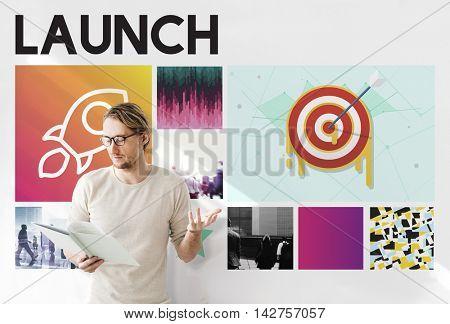 Launch Target Goals Rocketship Graphic Concept