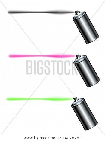 Spray Can Spraying A Line In Black , Pink And Green