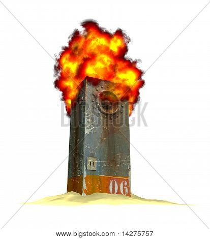 3D Render Of A Burning Industrial Speaker Soundsystem On A Pile Of Sand