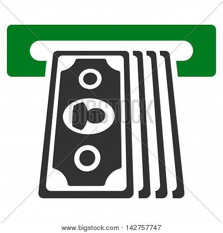 Cashpoint Terminal icon. Vector style is bicolor flat iconic symbol with rounded angles, green and gray colors, white background.