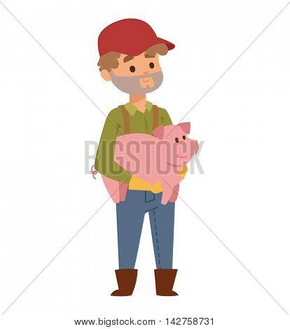 Farmer and pig vector illustration.