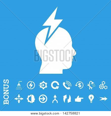 Headache vector icon. Image style is a flat pictogram symbol, white color, blue background.