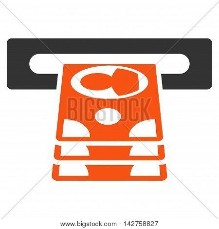 Cashpoint icon. Vector style is bicolor flat iconic symbol with rounded angles, orange and gray colors, white background.