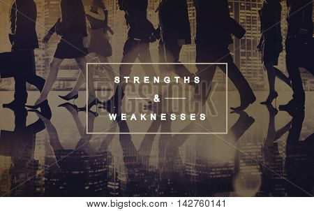 Strengths and Weaknesses SWOT Opportunities Threats Concept