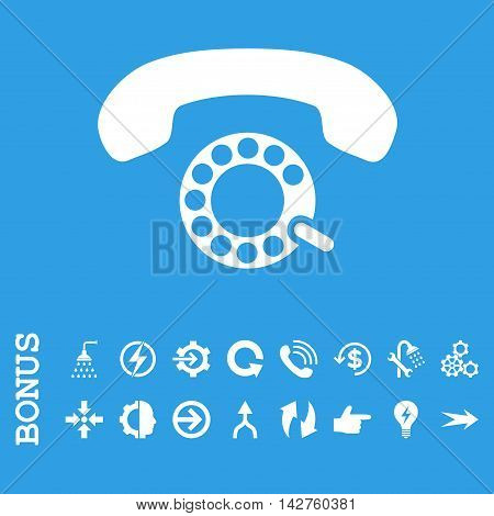 Pulse Dialing vector icon. Image style is a flat iconic symbol, white color, blue background.