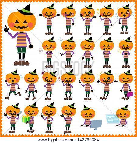 Set of various poses of jack-o-lantern Halloween