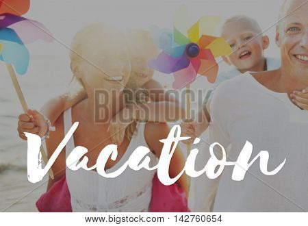 Summer Vacation Family Positivity Concept