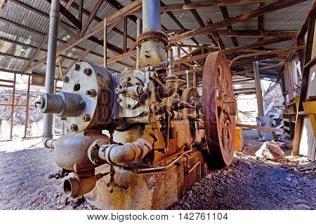 Abandoned gold mine milling machinery at the abandoned Martinez mine near Phoenix and Florence Arizona.