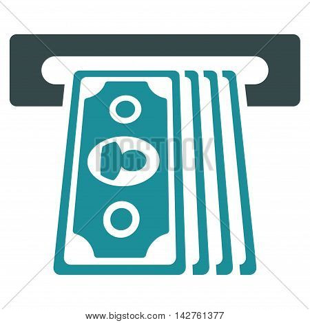 Cashpoint Terminal icon. Vector style is bicolor flat iconic symbol with rounded angles, soft blue colors, white background.