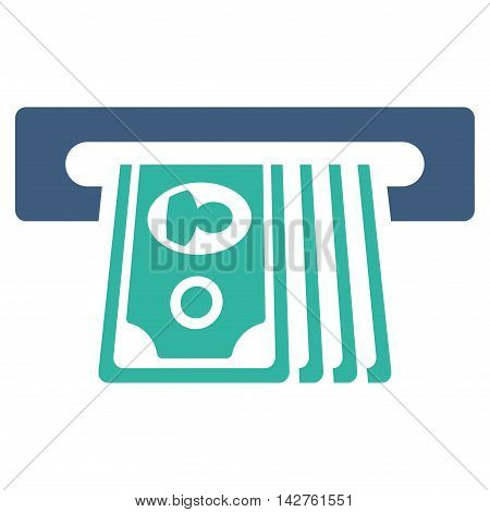 ATM Insert Cash icon. Vector style is bicolor flat iconic symbol with rounded angles, cobalt and cyan colors, white background.
