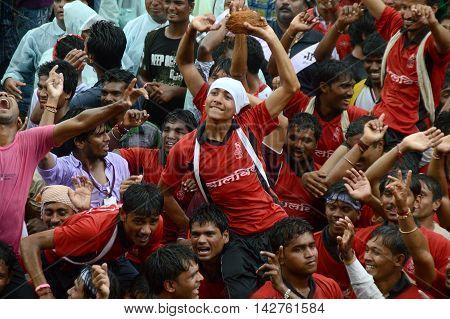 AMRAVATI, MAHARASHTRA, INDIA - AUGUST 29 : Crowd of young People enjoying