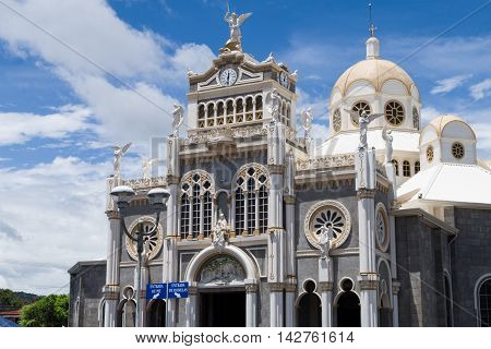 CARTAGO, COSTA RICA - July 31: Front view of Basilica of Our Lady of the Angels. in Cartago Downtown. July 31, 2016 in Cartago.