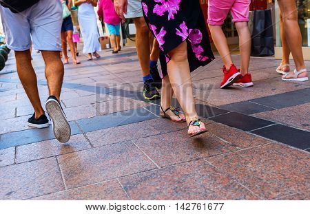 Summery Clothed People Walking In The City