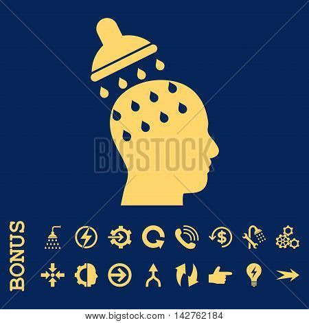 Brain Washing vector icon. Image style is a flat pictogram symbol, yellow color, blue background.