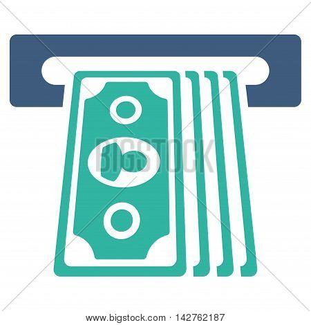 Cashpoint Terminal icon. Vector style is bicolor flat iconic symbol with rounded angles, cobalt and cyan colors, white background.