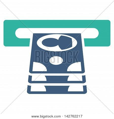 Cashpoint icon. Vector style is bicolor flat iconic symbol with rounded angles, cobalt and cyan colors, white background.