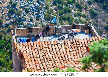 Roof Terrasse Of A House In Eze, France