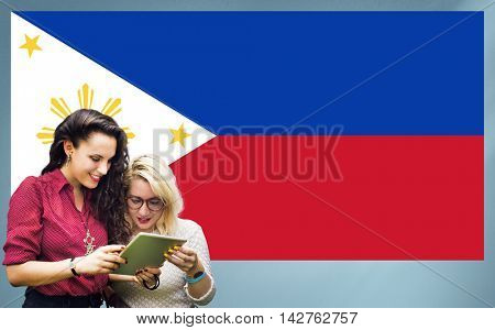 Philippines National Flag Studying Women Students Concept