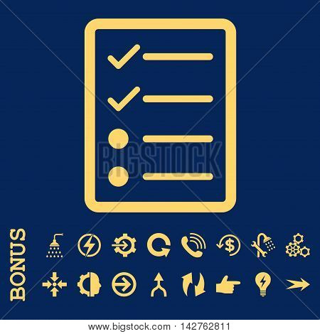 Checklist Page vector icon. Image style is a flat iconic symbol, yellow color, blue background.