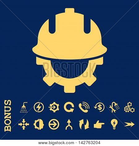 Development Helmet vector icon. Image style is a flat pictogram symbol, yellow color, blue background.