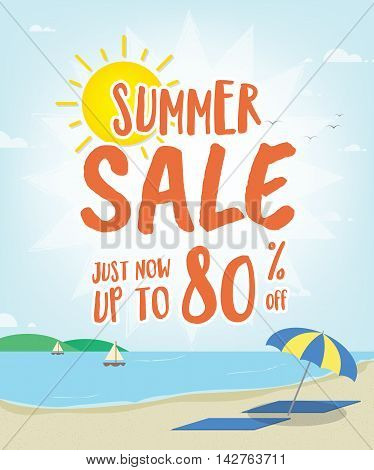 Summer Sale Heading With Illustration Design On The Beach For Banner Or Poster. Sale And Discounts C