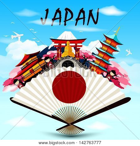Illustration of Japan travel in Japanese upon the fan on skyline background