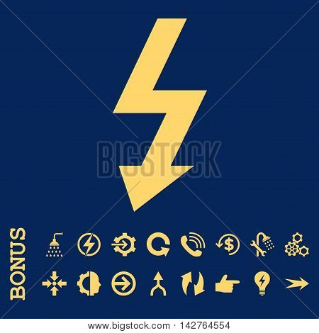 High Voltage vector icon. Image style is a flat pictogram symbol, yellow color, blue background.
