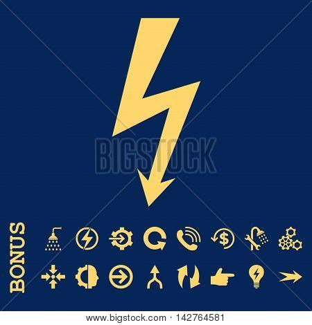 High Voltage vector icon. Image style is a flat iconic symbol, yellow color, blue background.