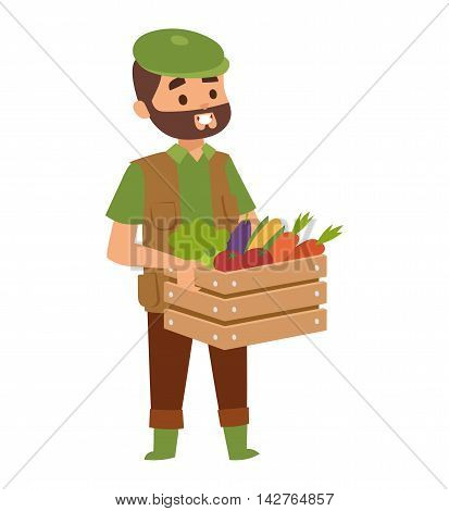 Harvest country farmer and organic healthy natural. Standing worker farmer business agricultural natural industry. Funny farmer with mustache character in straw hat farming food person vector.