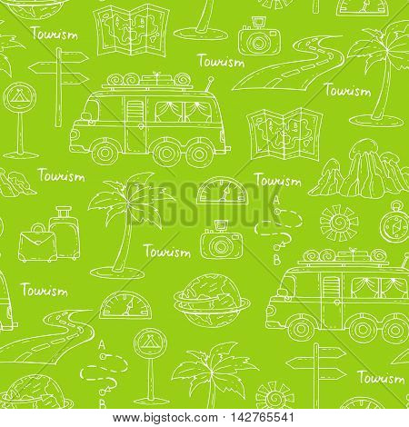 Vector seamless pattern with hand drawn isolated symbols of car travel on green color. Pattern on the theme of tourism. Background for use in design packing web site fabric