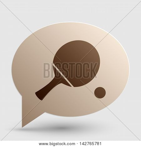 Ping pong paddle with ball. Brown gradient icon on bubble with shadow.