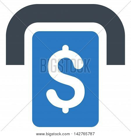 Cashpoint icon. Vector style is bicolor flat iconic symbol with rounded angles, smooth blue colors, white background.