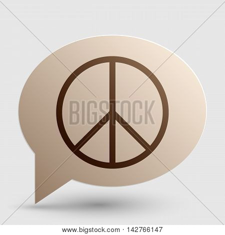 Peace sign illustration. Brown gradient icon on bubble with shadow.