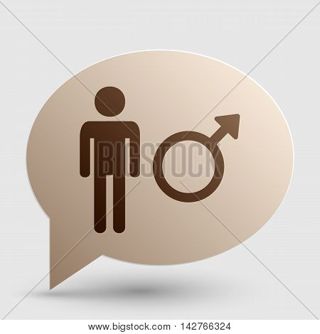 Male sign illustration. Brown gradient icon on bubble with shadow.