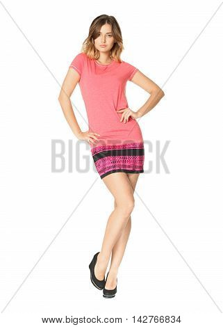 Girl In Coral Dress Isolated On White Background
