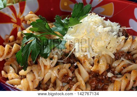 Fusilli Pasta With Vegetables And Cheese