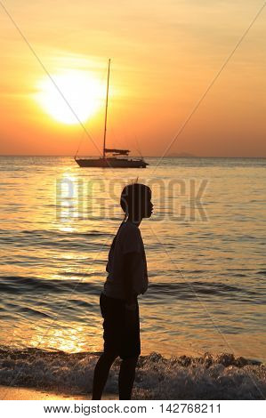 Pattaya, Thailand - December 21: Marine Leisure On The Beach At Sunset December 21, 2014 In Pattaya,