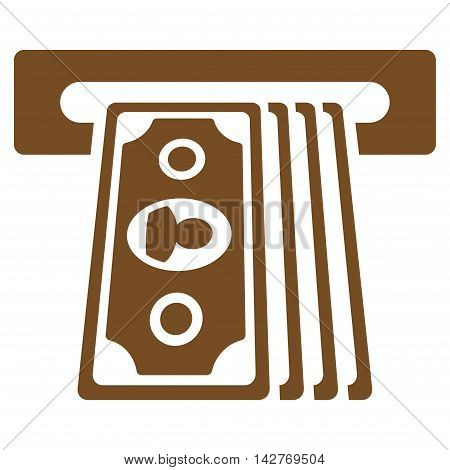 Cashpoint Terminal icon. Vector style is flat iconic symbol with rounded angles, brown color, white background.