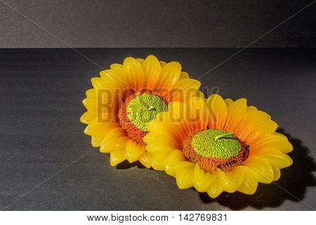 two yellow sunflower candle on black background