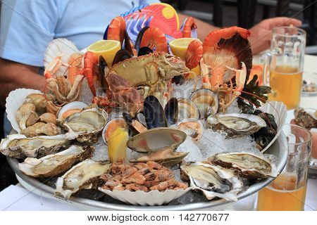 Seafood buffet with fresh oysters clams crabs shrimps snails lobsters and beer in restaurant