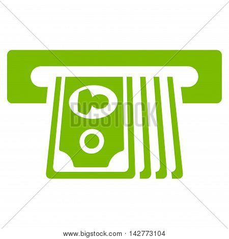 ATM Insert Cash icon. Vector style is flat iconic symbol with rounded angles, eco green color, white background.