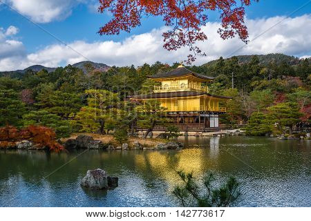 Kinkakuji Temple (the Golden Pavilion) With Autumn Maple In Kyoto