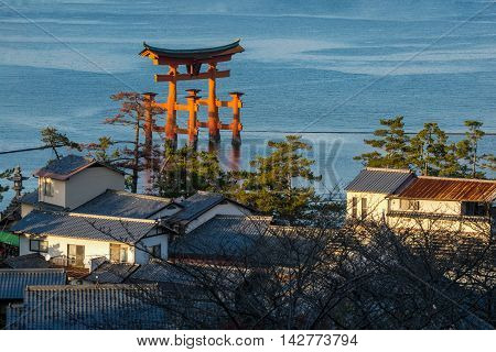 High Angle View Of Great Floating Gate (o-torii) On Miyajima Island, Japan