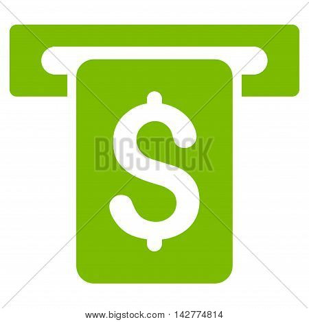 Cash Withdraw icon. Vector style is flat iconic symbol with rounded angles, eco green color, white background.