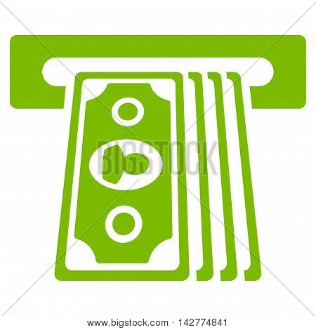 Cashpoint Terminal icon. Vector style is flat iconic symbol with rounded angles, eco green color, white background.