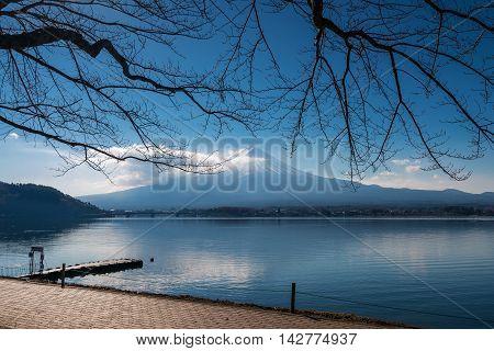 Mount Fuji In The Morning With Reflection On The Lake Kawaguchiko