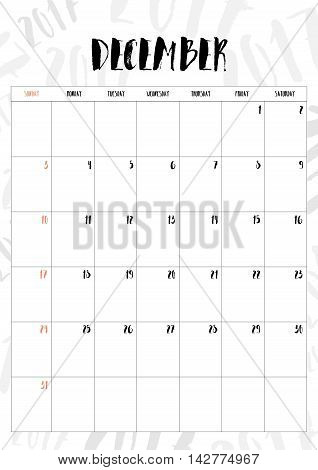Vector,2017 Calendar December Month With Table On 2017 Pattern Background, Fit On A4 Size